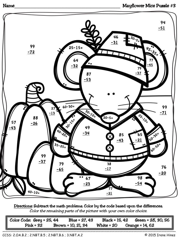 Thanksgiving Math Activities ~ Mayflower Mice ~ Color By