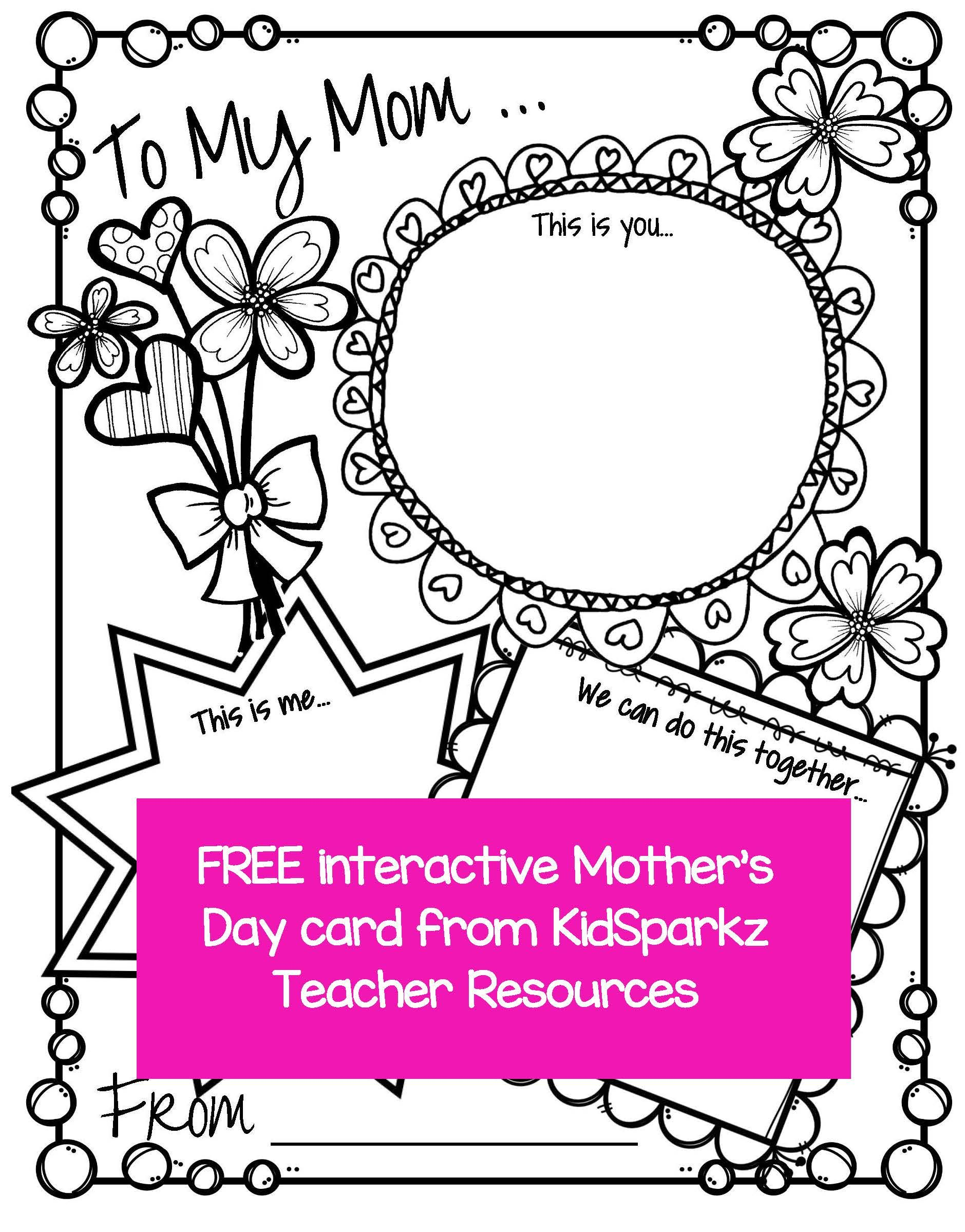 Mother S Day Printable Activity Card Full Page That Can Be Completed By Children From