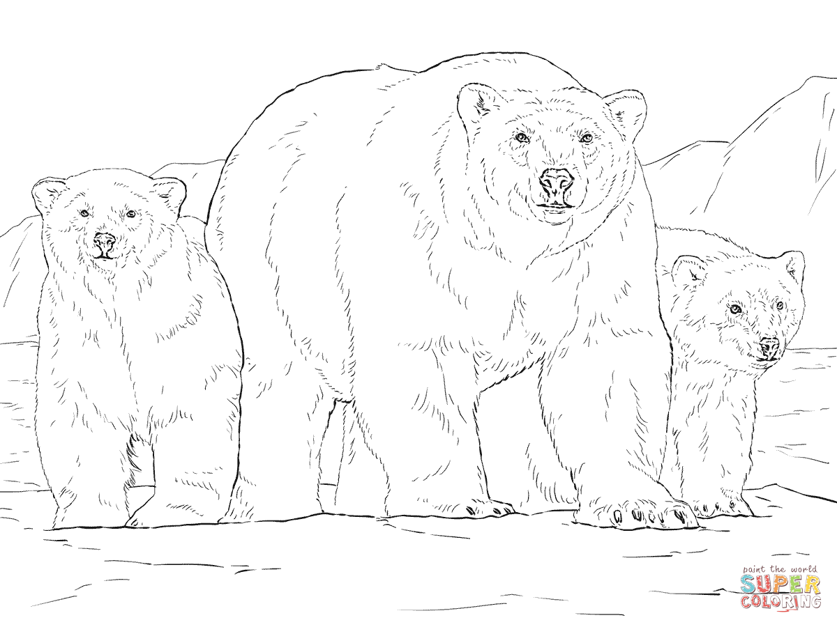 Polar Bear With Two Cubs Coloring Page