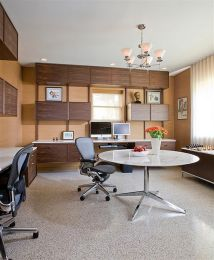 Mid Century Basement Modern Home Office With