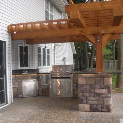Photos Of Outdoor Kitchens And Bars Kitchen Light Bulbs Pergola Granite Countertops Cultured Stone Paver Patio