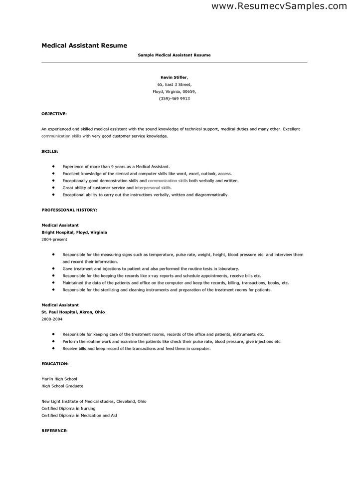 Medical Resume Examples Resume Sample For Medical Assistant