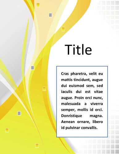 Word Documentation Cover Page Template  Very simple and elegant professional business cover