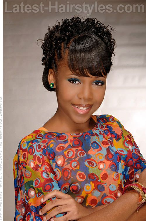 Black Kid Updo with Bangs  Girls hair  Pinterest  Black