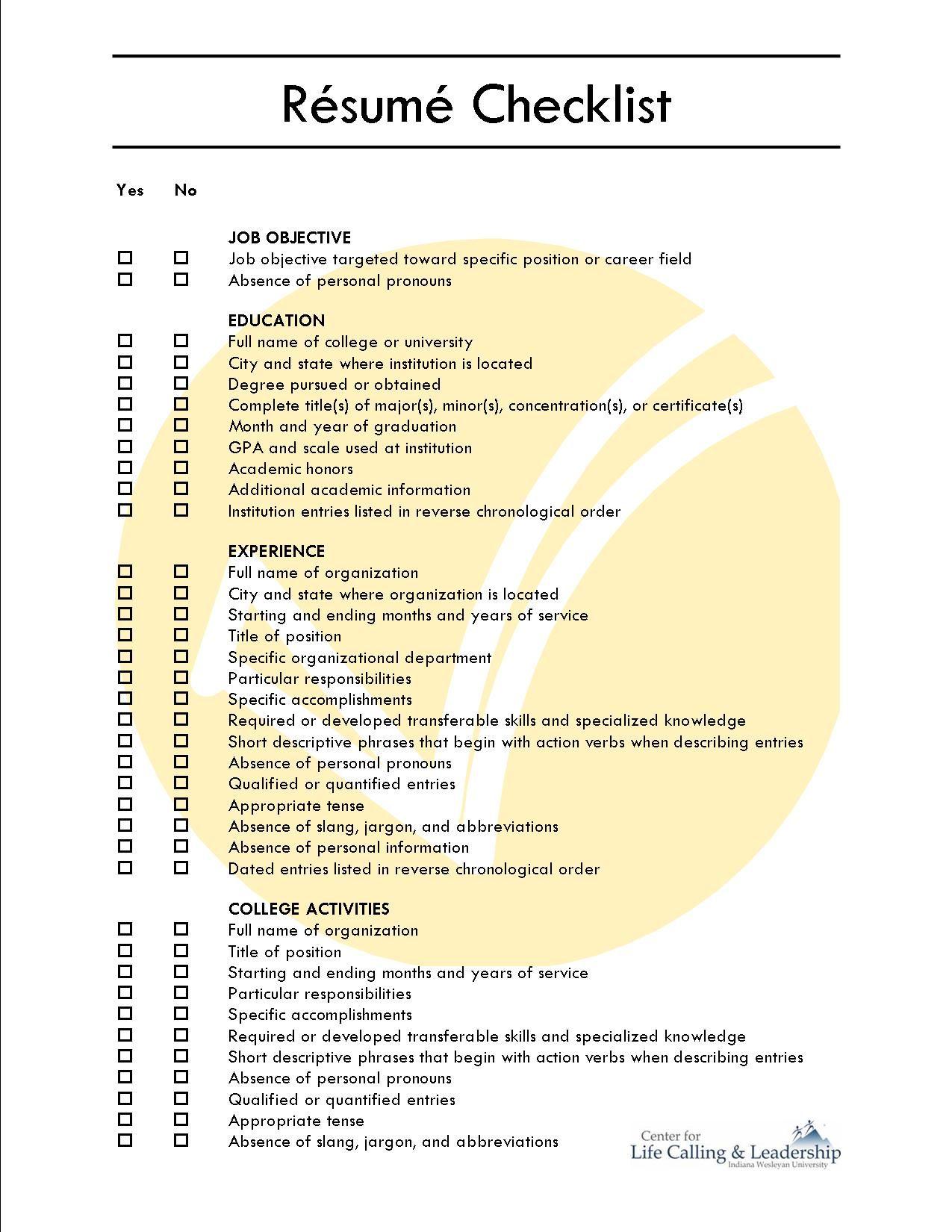 Comprehensive Resume Checklist Sample Comprehensive Resume