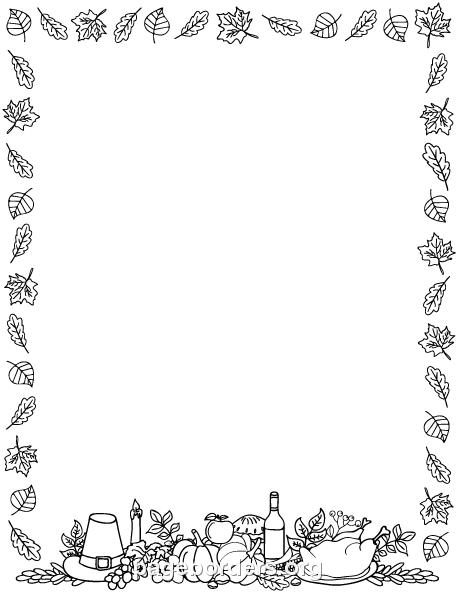 Printable black and white Thanksgiving border. Use the