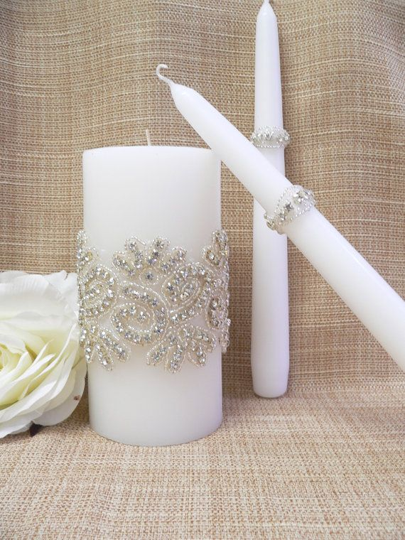Wedding Candle Set,Crystals wedding unity candle,Wedding