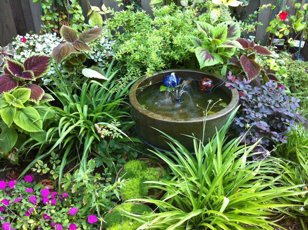 Perfect Combination For A Shady Nook Lush Perenials Small Water