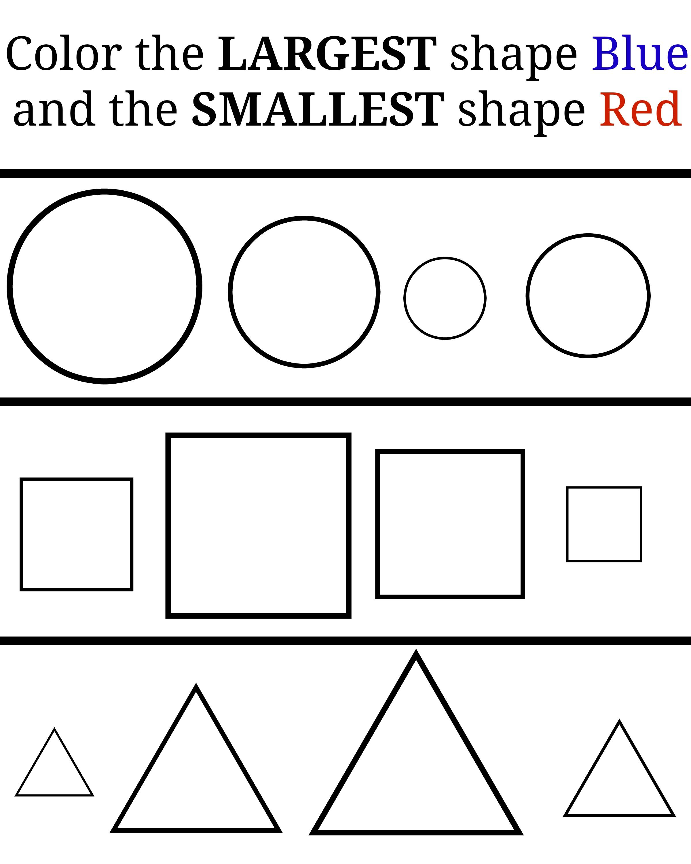 Color The Shapes Learning Large And Small
