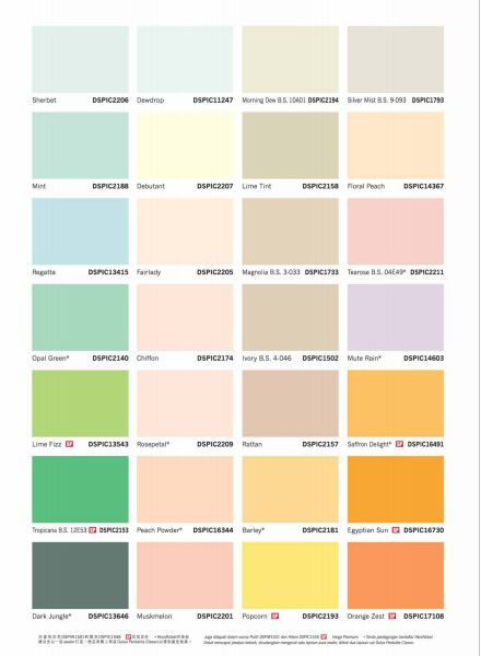 Taubmans Interior Paint Colour Chart
