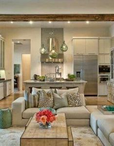What you think abut this open plan kitchen living room design the wood paneling is usually something  dislike but it works here adds character also if like  nice contemporary look with bit rh pinterest