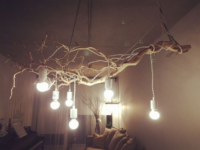 My Favourite Diy Branch Chandelier Made By Just Branches And Simple Light Bulbs Very Low