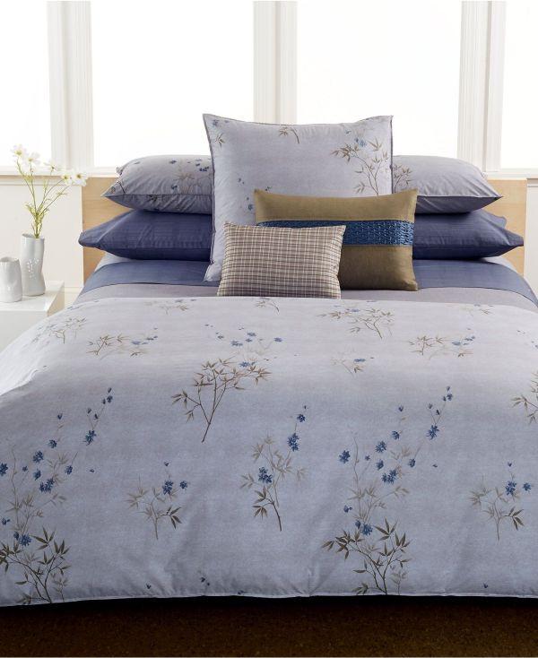 Calvin Klein Bamboo Flowers Full Queen Comforter - Bedding