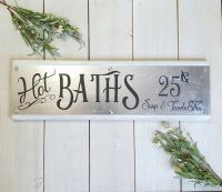 Hot Baths Sign, Farmhouse Style, Galvanized Metal Decor ...