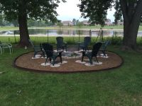 Great outdoor fire pit, used galvanized ring, concrete ...