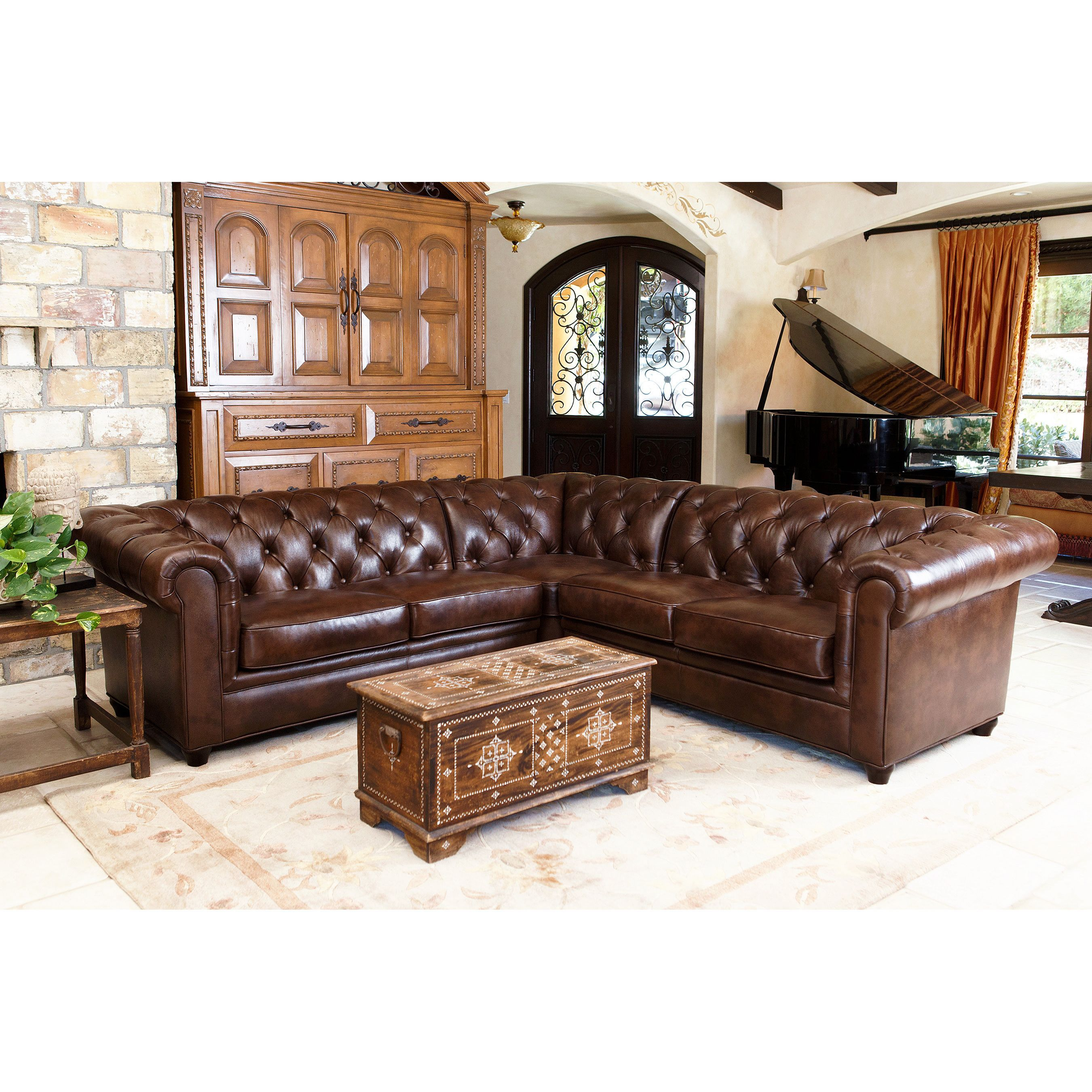 8 piece leather sectional sofa macy s decorative pillows the tuscan tufted three is upholstered in