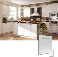 Ice White RTA Shaker style Kitchen Cabinets, Wood: Birch ...