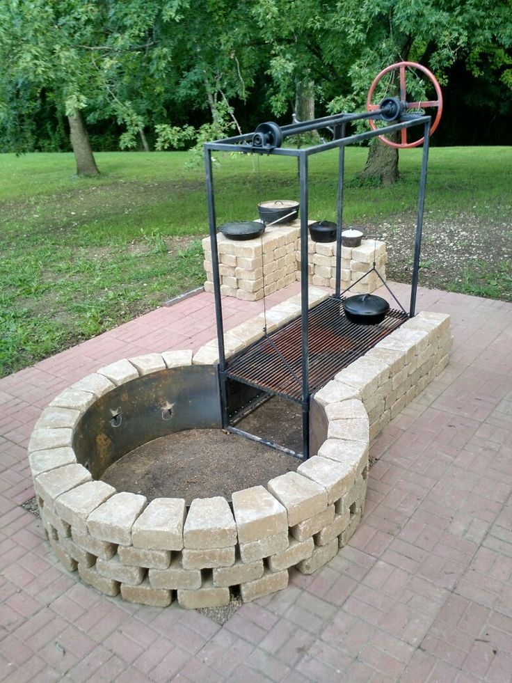 Keyhole fire pit with adjustable grille  BBQ Grills