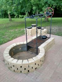 Keyhole fire pit with adjustable grille #BBQ #Grills #