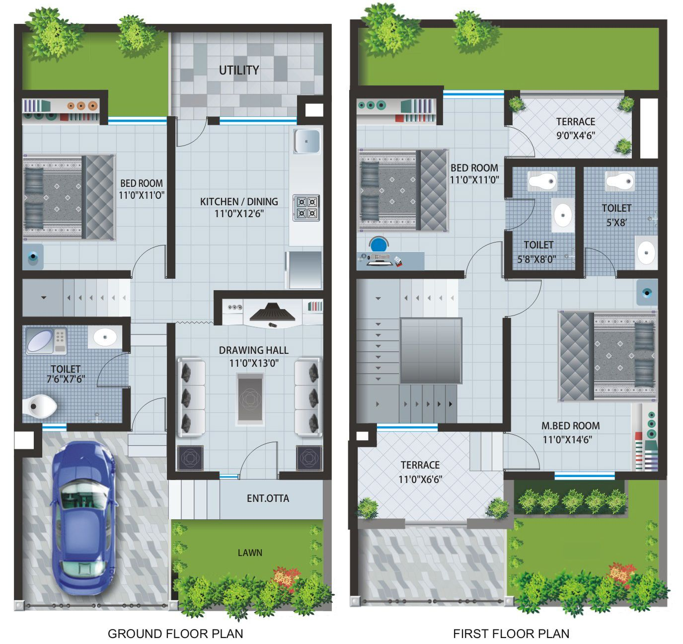 Floor Plans Of Apartments & Row Houses At Caroline Baner Plans