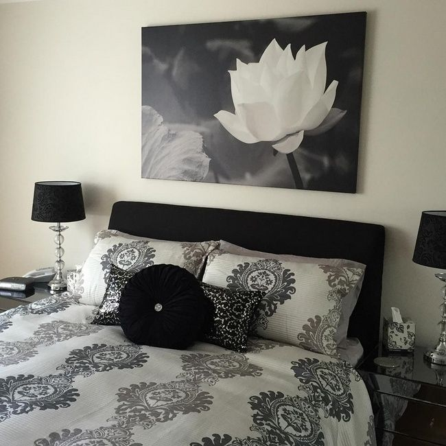 Black and white glam bedroom great big canvas also ideas for rh pinterest