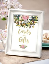 Cards and gifts sign favors sign gold wedding by