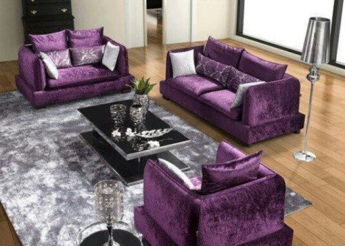 Its  traditional living room with antique furniture walls done neutral colours combined purple sofa also loving this velvet seating area so close to perfection luv