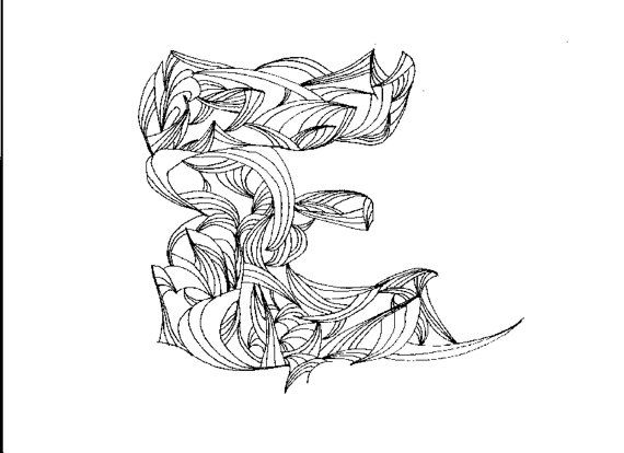 Adult Coloring Page Letter E Digital by