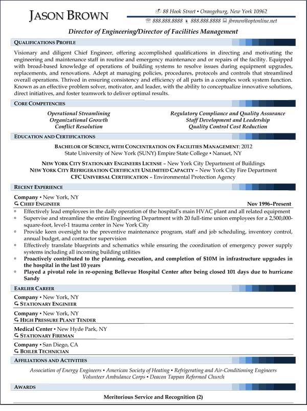 Director Of Facilities Management Resume Sample Resume