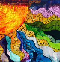 Stained glass window mosaic sun, Fire Within, glass on ...