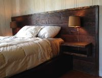 With Reclaimed Wood Headboard Wall Lamp | For the Home ...