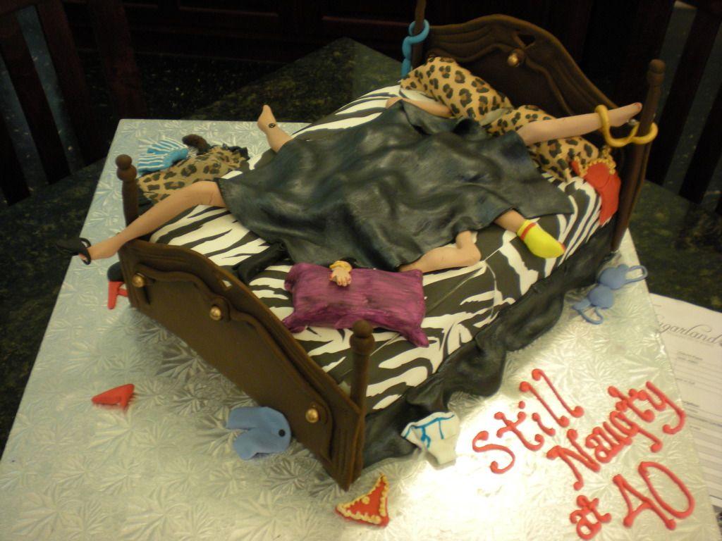 Naughty 40th Birthday Animal Print Cake