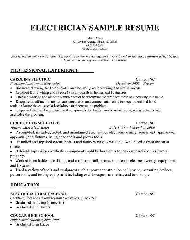 Electrician Resume Sample Resumecompanion Com Resume Samples