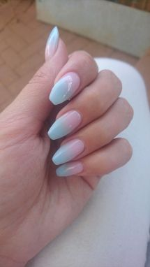 Ombre Nails Pink White Coffin Imgurl