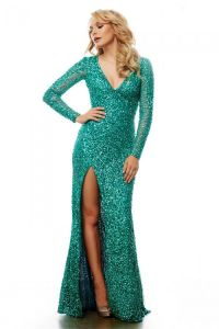 Fitted V Neck Long Sleeve Green Sequin Sparkly Prom Dress ...