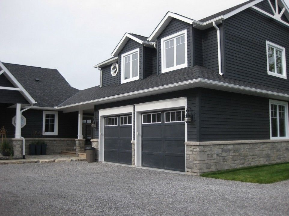 Winderful Attractive Siding House With Black Painting Wall