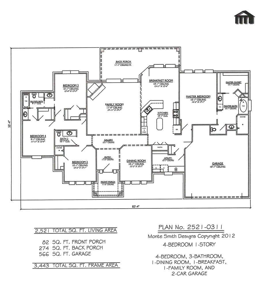 One Story Open Floor Plans With 4 Bedrooms Bedroom 1 Story 3