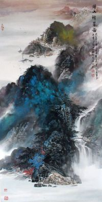 Splashing color of landscape paintings Lake and Mountains ...