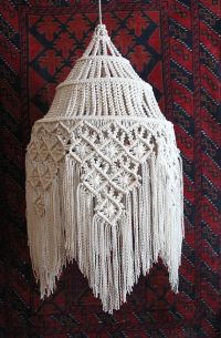 """Fringed Hanging Macram Lamp ~ Size: 15"""" Wide X 30"""" Tall ..."""