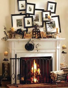 Decorating ideas charming image of home interior and living room decoration using black frame wall decor over fireplace including white wood shelf also facebook mantel rh pinterest