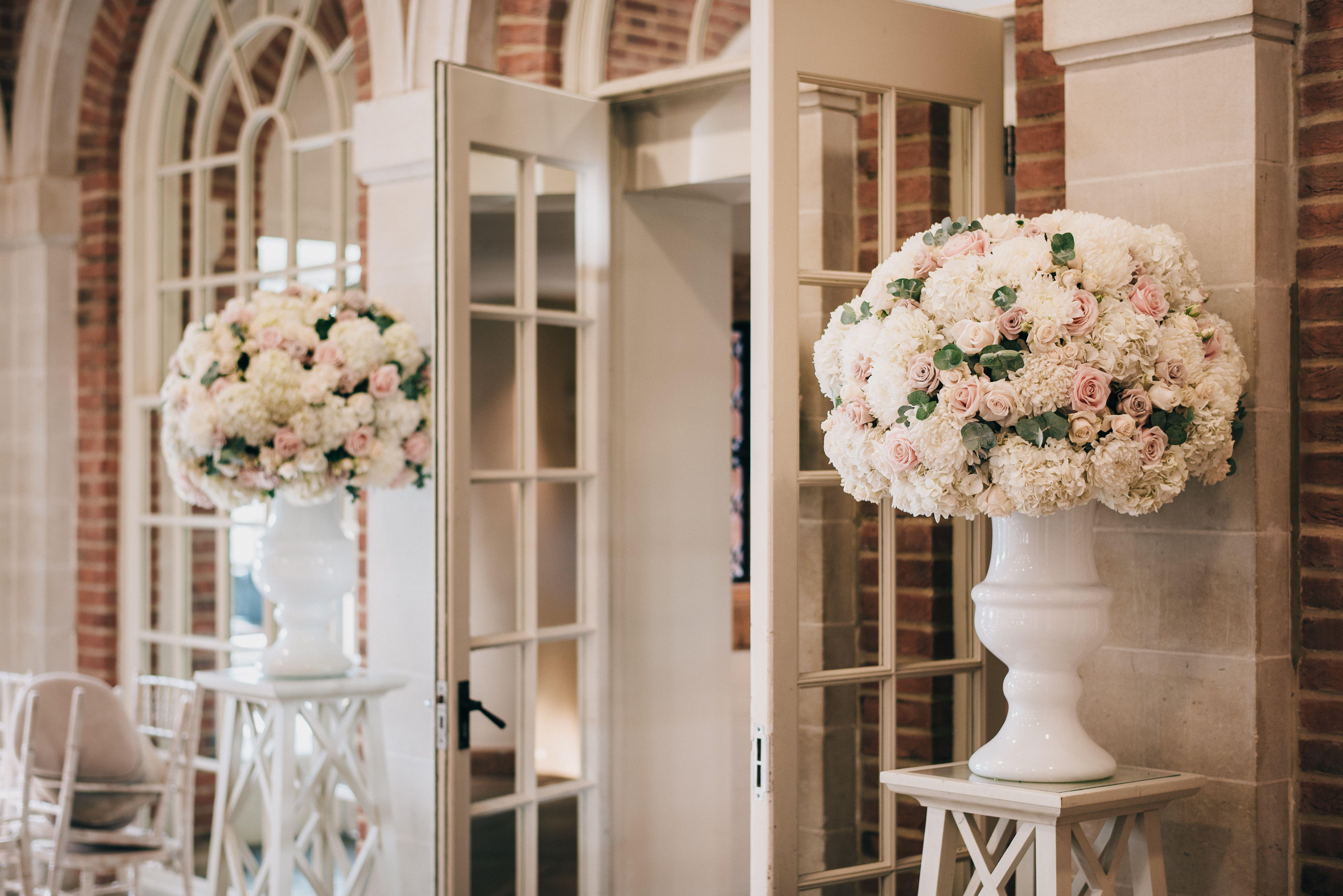 Pedestal Wedding Ceremony Flowers Dusky Pink And Ivory