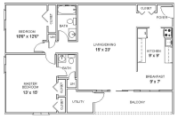 two bedroom floor plan apartment