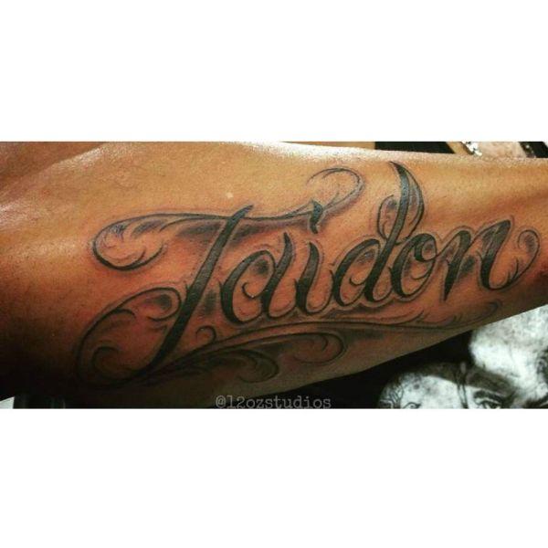 Forearm Name Tattoo Lettering Cursive