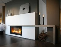 plain white double sided gas fireplace mantel design with ...
