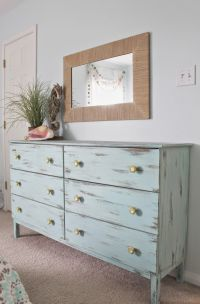 Beach themed bedroom. Aqua painted unfinished dresser from ...