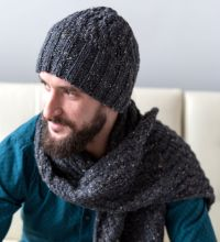 Men's Cable Hat and Scarf - http://www.knittingboard.com ...