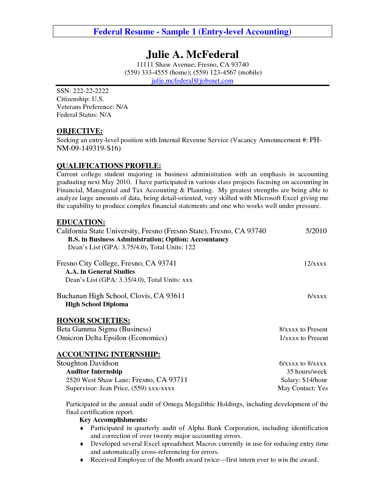 Objective For Accounting Resume