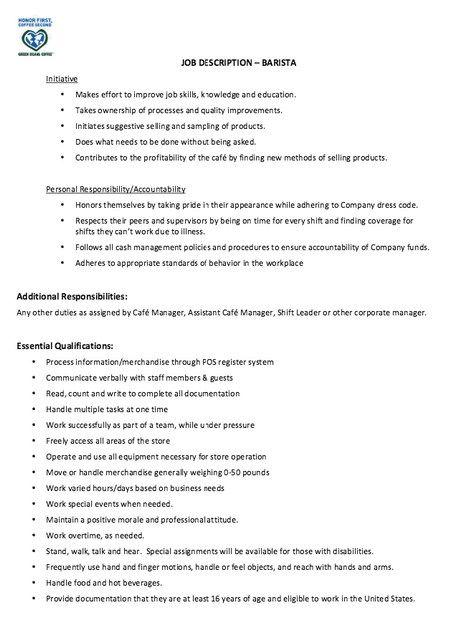 Barista Resume Job Description  httpjobresumesample