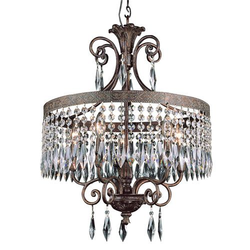 Dark Bronze Gold Five Light Chandelier With Crystal Accents