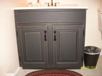 Finished Bathroom vanity cabinet with black chalkboard